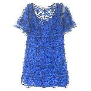 MINT by Jodi Arnold cobalt lace appliqué dress 4